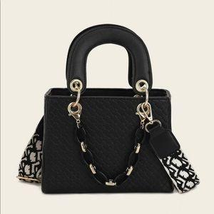 Textured Satchel Bag w/ Wide Strap